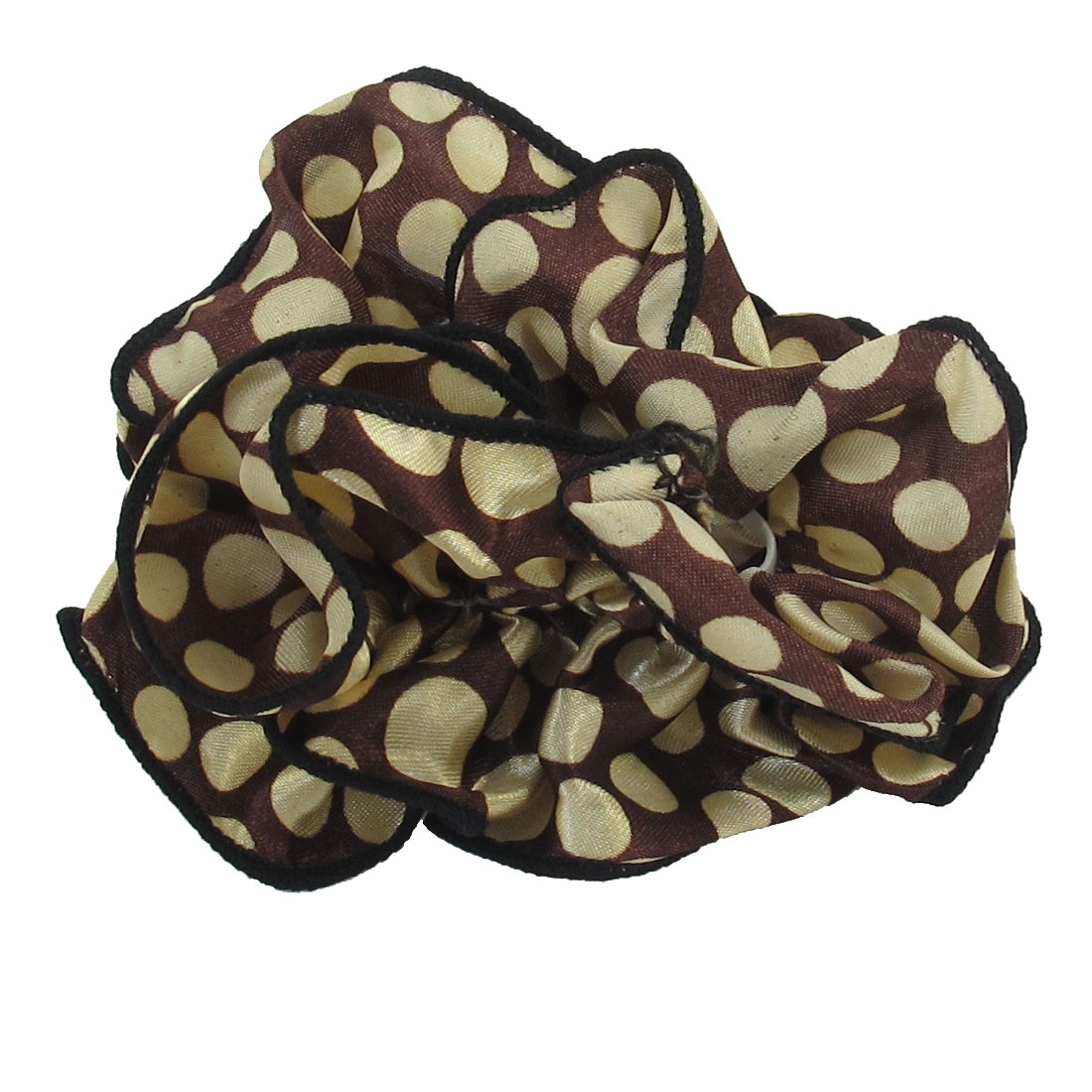 Women Beige Dots Printed Brown Chiffon Stretchy Ponytail Holder Hair Band