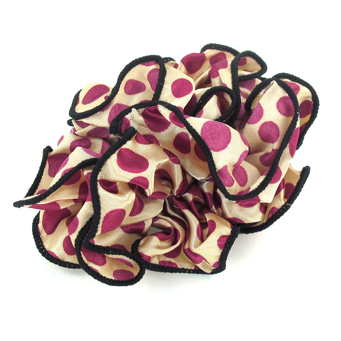 Women Burgundy Dots Printed Beige Chiffon Stretchy Ponytail Holder Hair Band