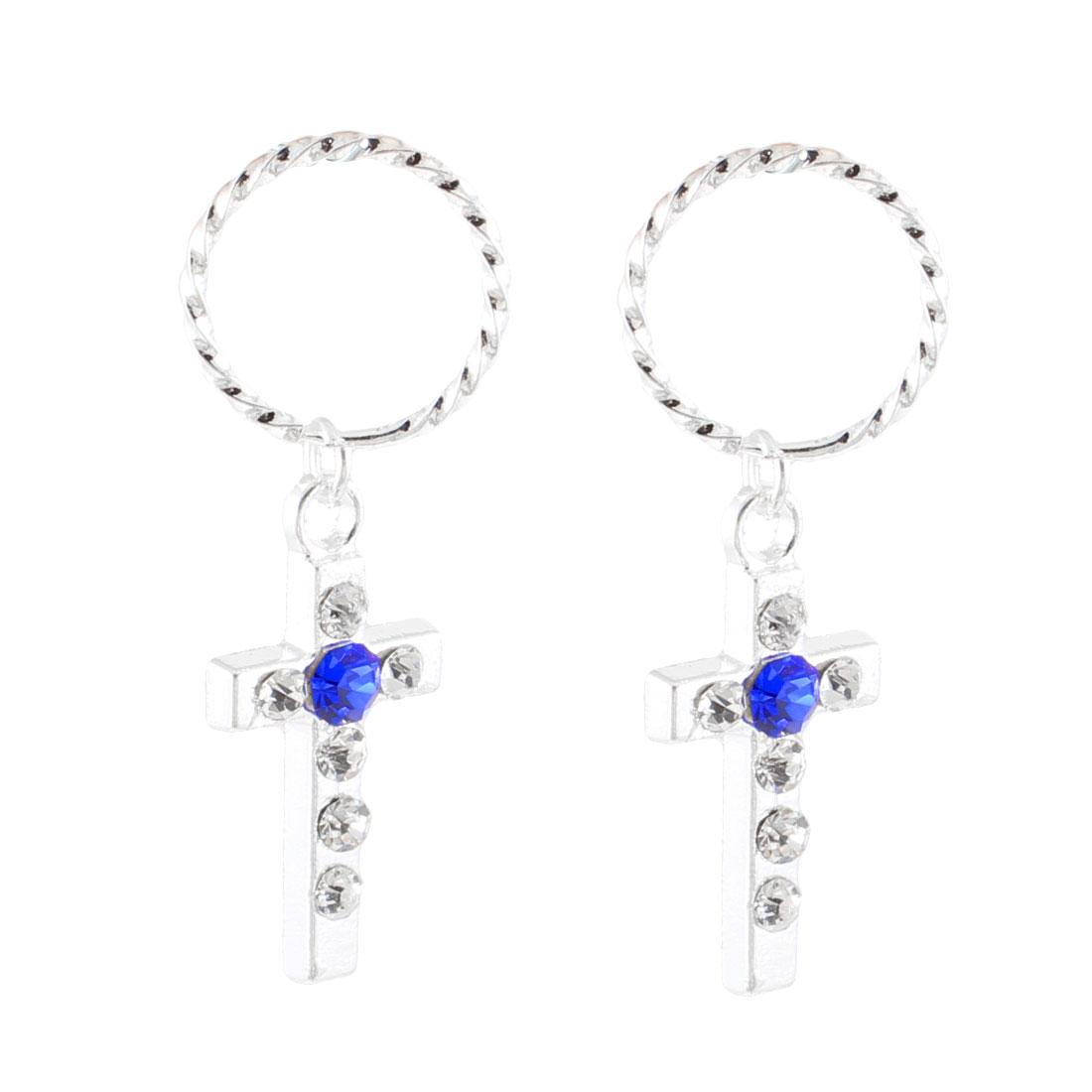 Lady Blue Glittery Rhinestone Inlaid Silver Tone Cross Dangle Earrings Pair