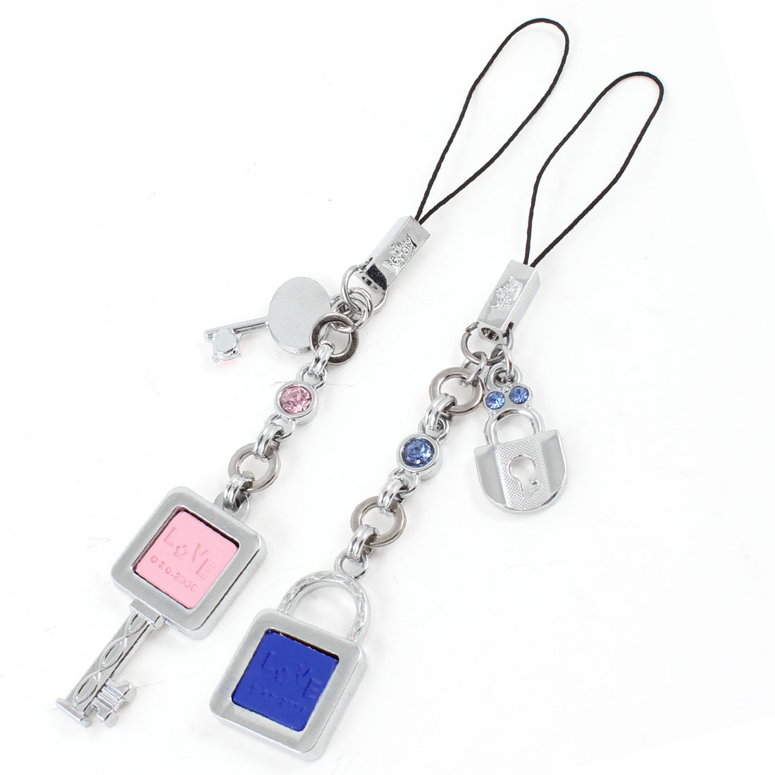 2pcs Lover Pink Blue Lock Key Design Metal Cell Phone Pendant Mp3 Strap String