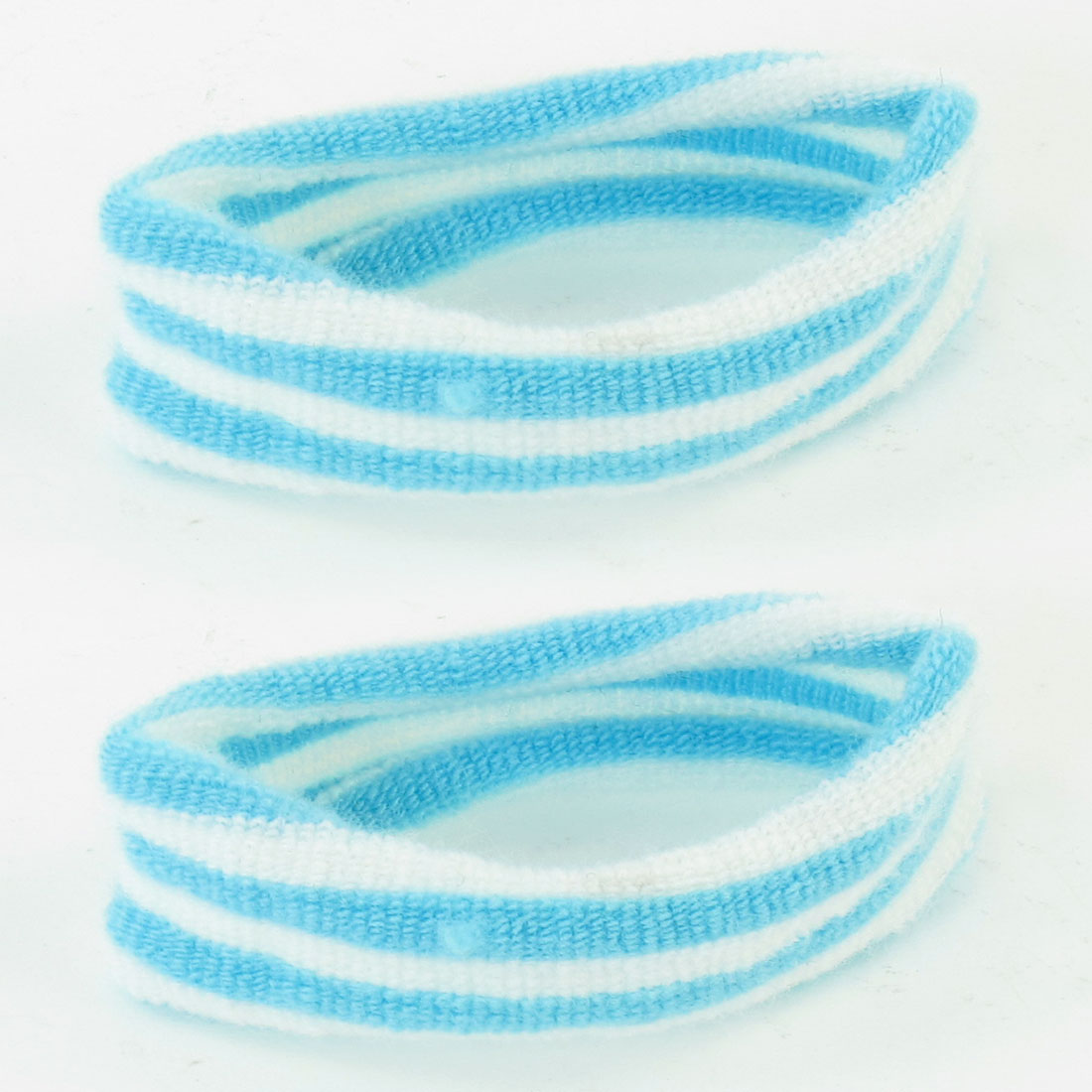 Lady Light Blue White Stripe Pattern Elastic Hair Band Ponytail Holder 2 Pcs