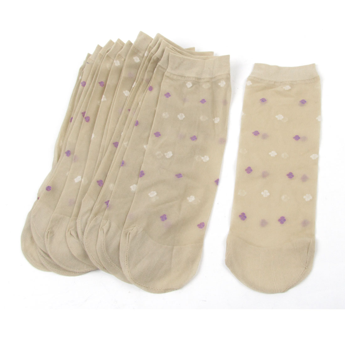 10 Pairs Flower Printed Soft Elastic Beige Sheer Socks for Ladies
