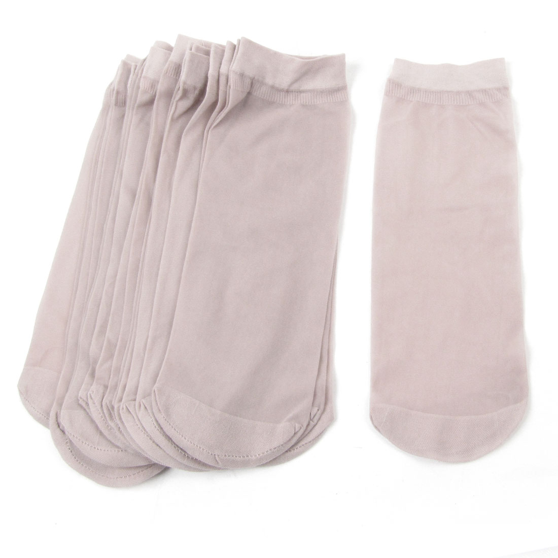 10 Pairs Soft Elastic Pale Pink Sheer Socks for Ladies