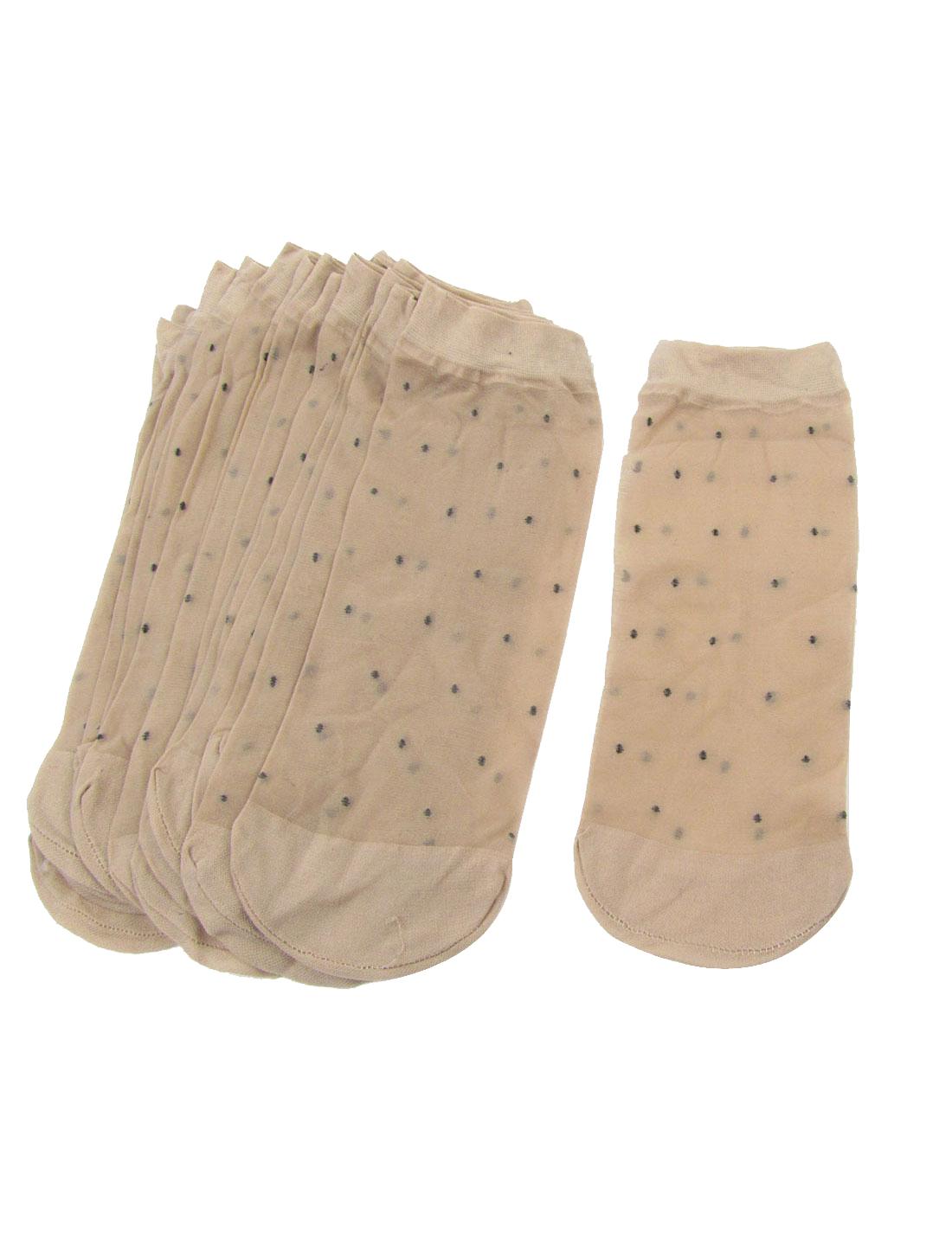 10 Pairs Black Dots Printed Soft Elastic Beige Sheer Socks for Ladies