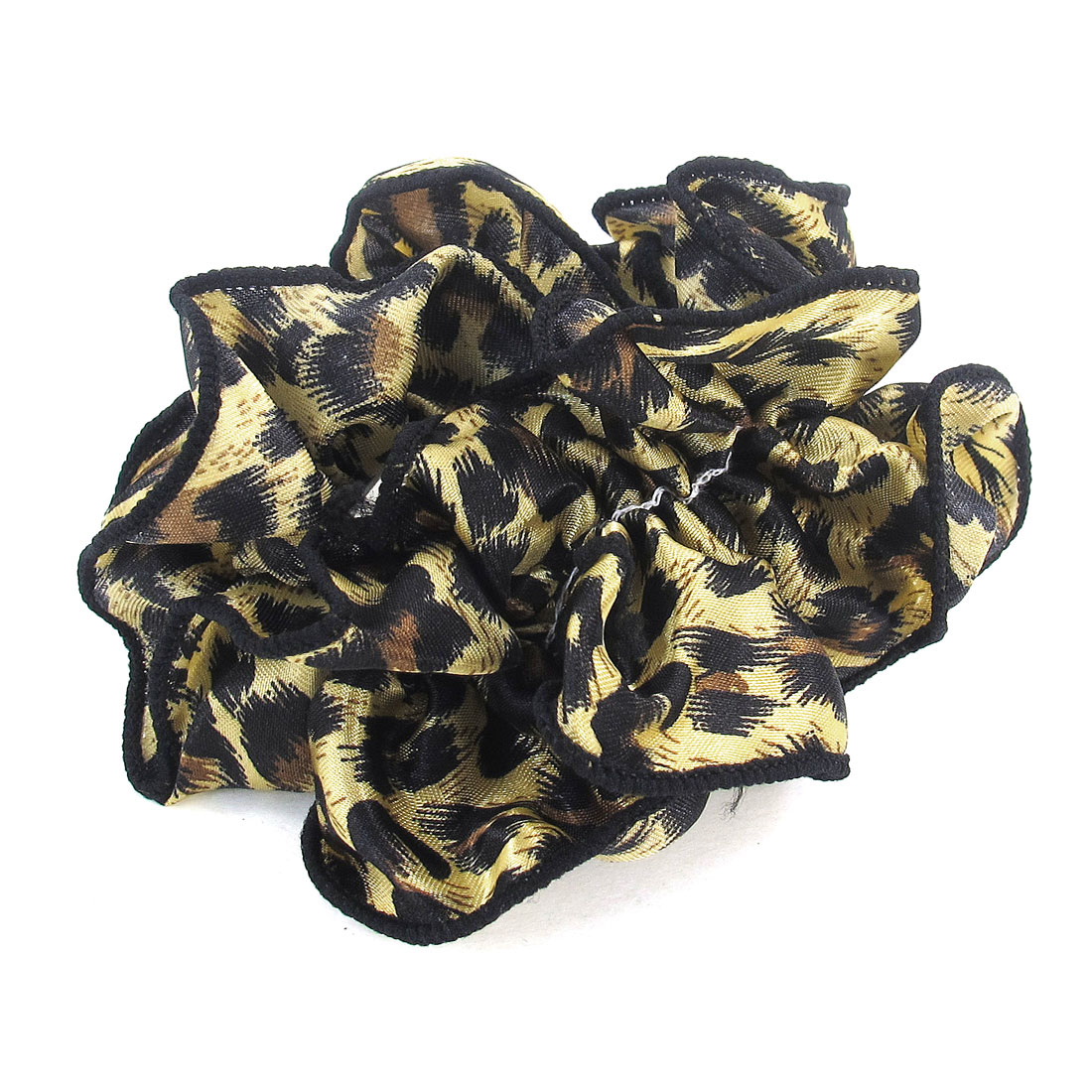 Women Leopard Pattern Chiffon Stretchy Ponytail Holder Hair Band Black Yellow