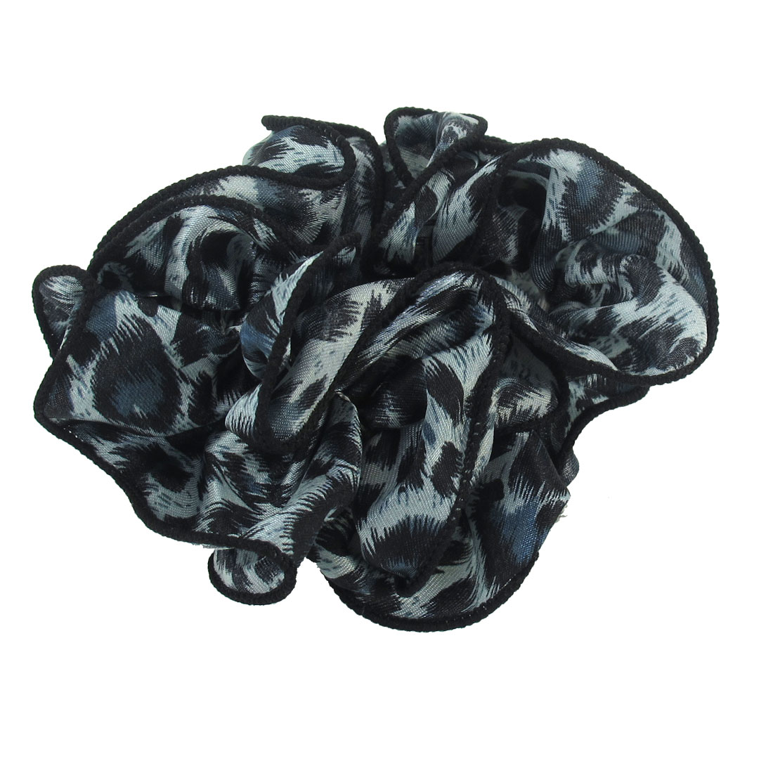 Women Leopard Pattern Chiffon Stretchy Ponytail Holder Hair Band Black Steel Blue
