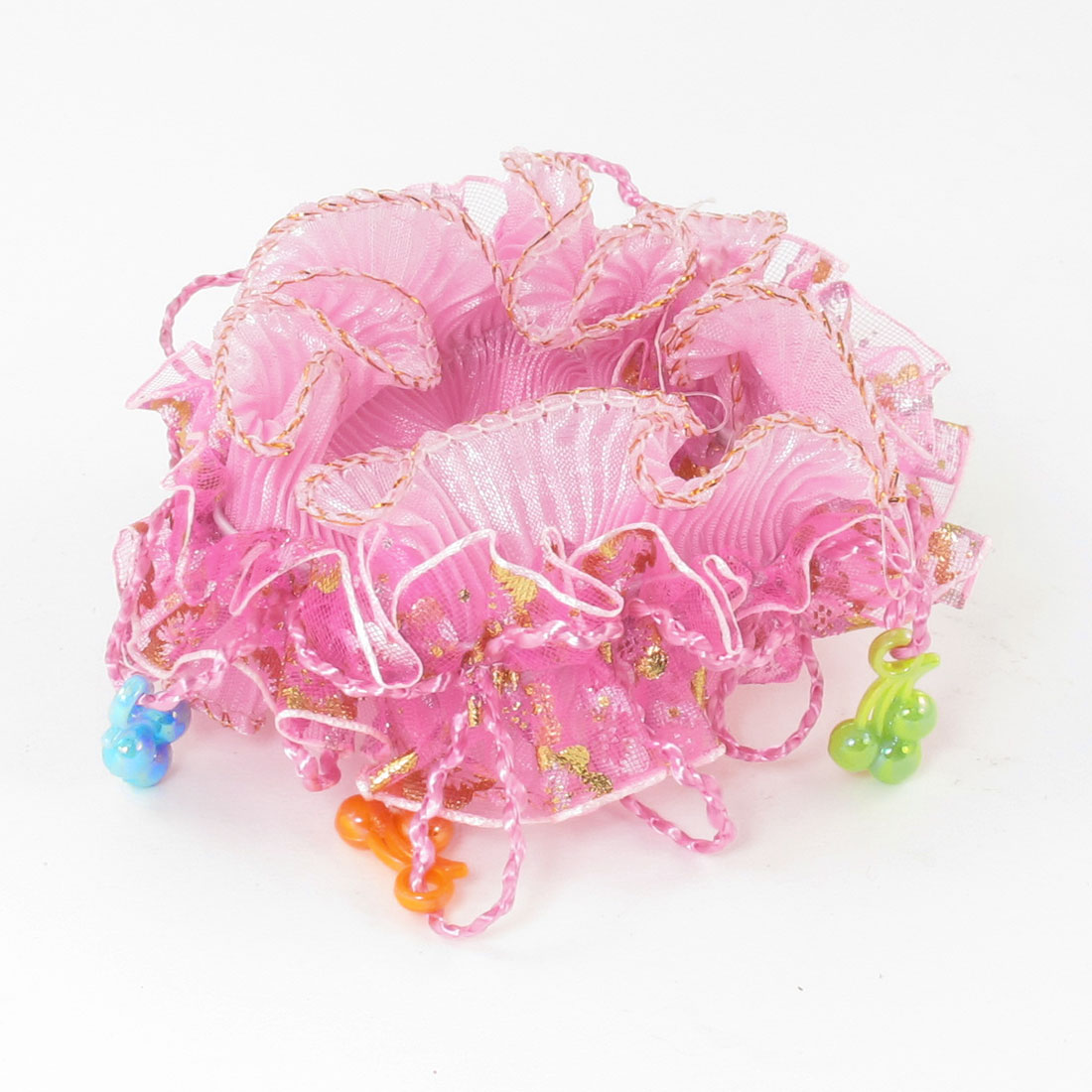 Girls Plastic Beads Organza Nylon Elastic Hair Ponytail Holder Pink