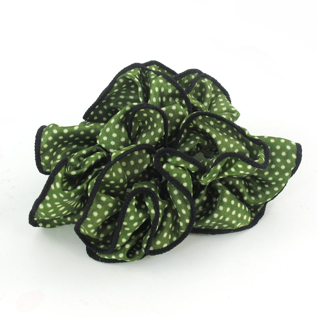 Women White Dots Pattern Green Chiffon Stretchy Ponytail Holder Hair Band