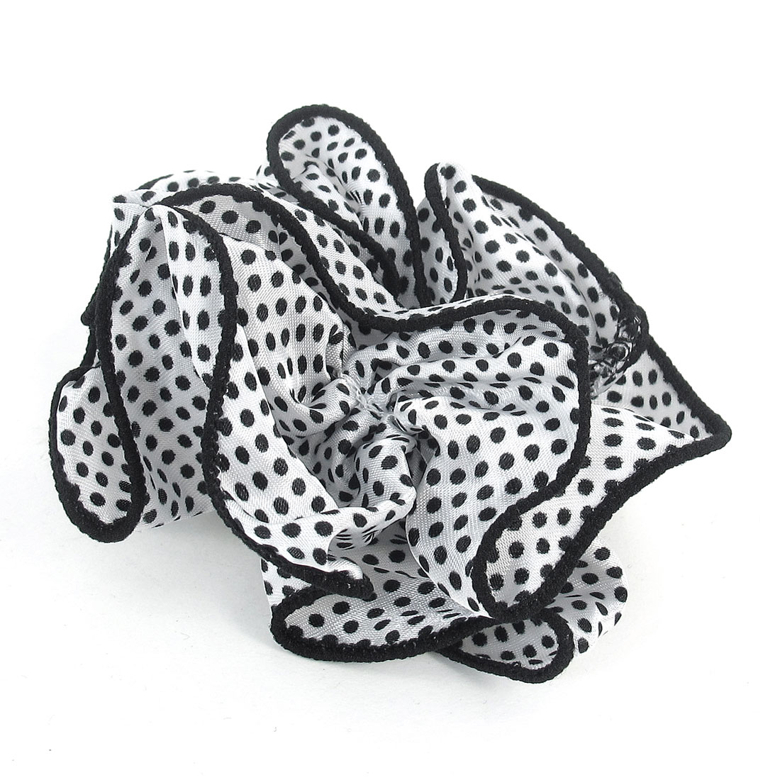 Women White Dots Pattern Black Chiffon Stretchy Ponytail Holder Hair Band