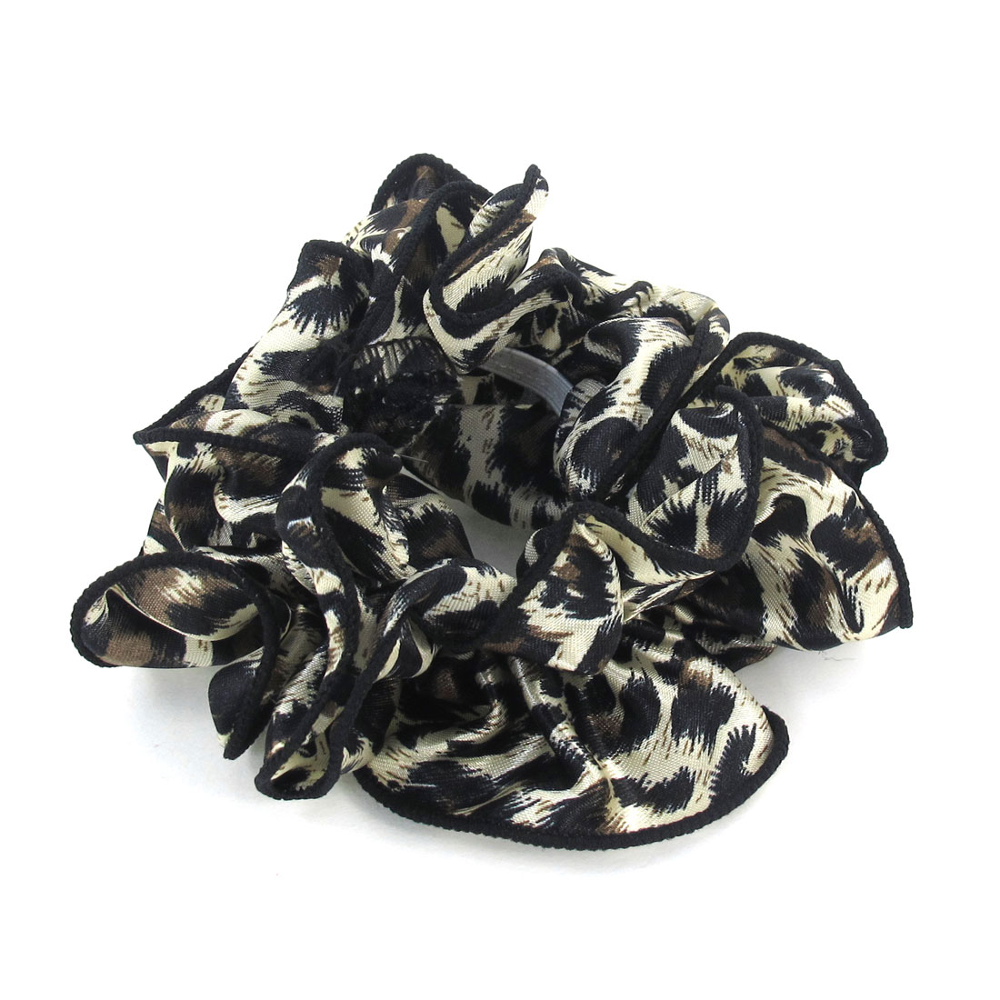 Women Leopard Pattern Chiffon Stretchy Ponytail Holder Hair Band Black Beige