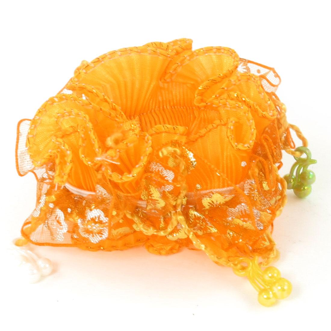 Girls Plastic Beads Organza Nylon Elastic Hair Ponytail Holder Orange
