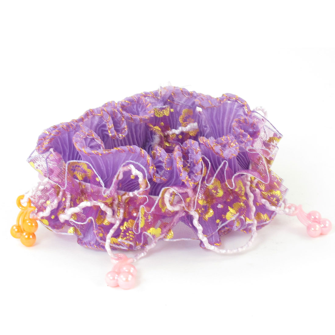 Girls Pink Orange Beads Organza Nylon Elastic Hair Ponytail Holder Purple