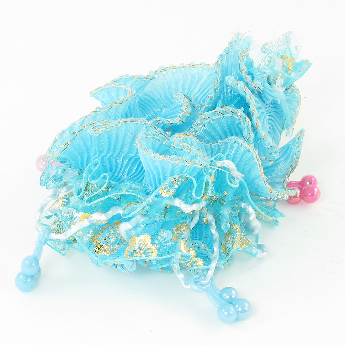 Girls Plastic Beads Organza Nylon Elastic Hair Ponytail Holder Sky Blue