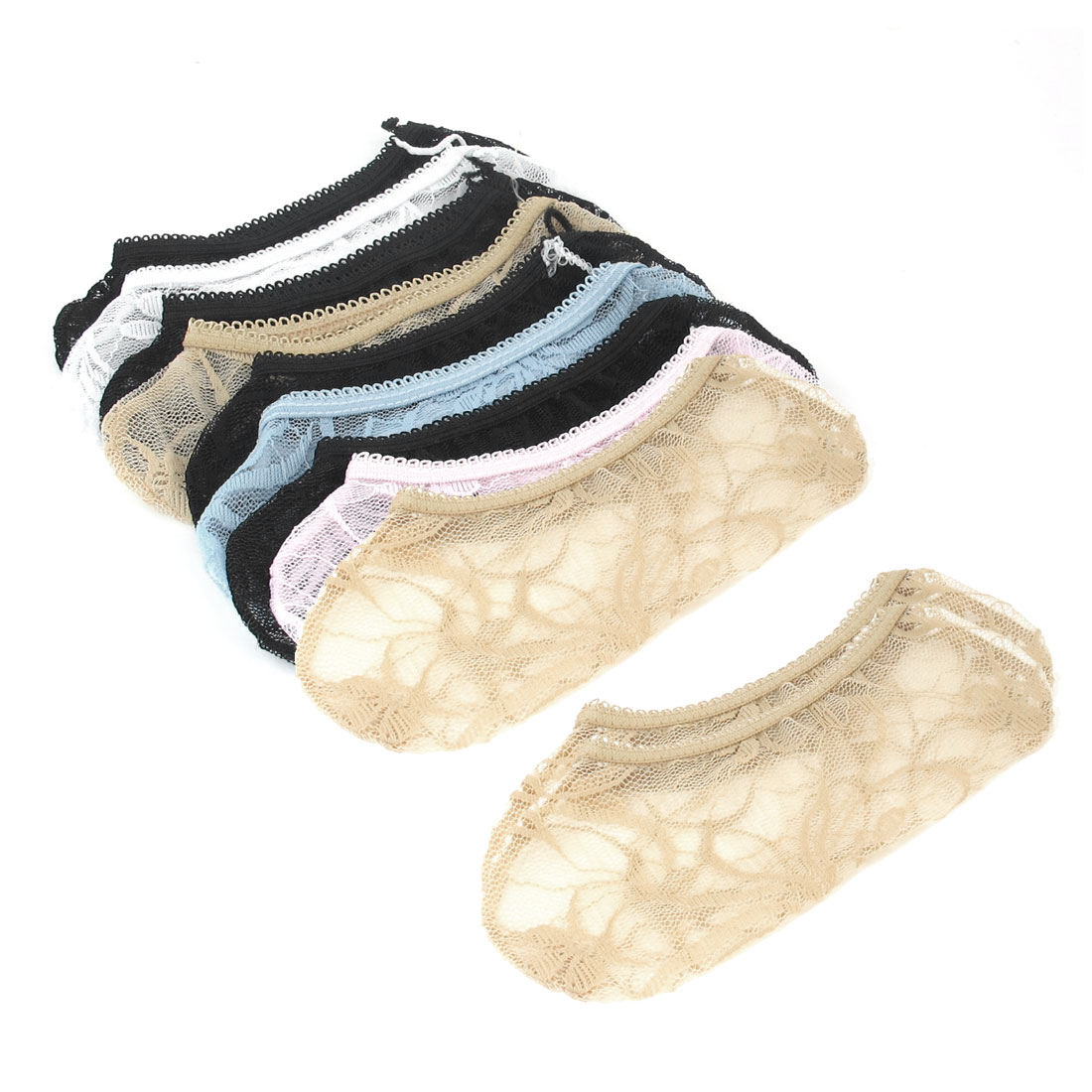 10 Pairs Assorted Color Lace Mesh Low Cut Elastic Cuff Boat Socks for Women
