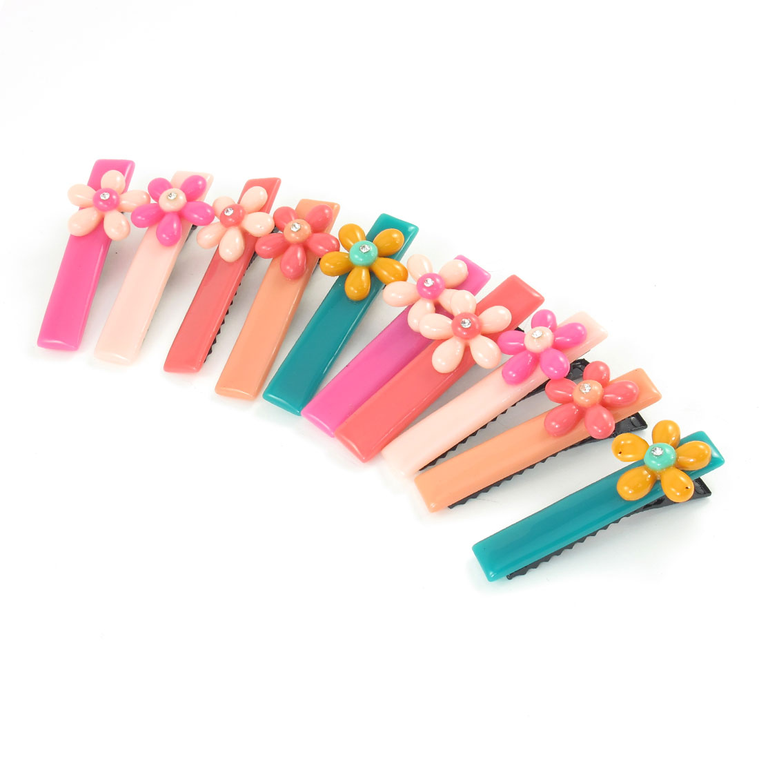 5 Pair Colorful Rhinstone Inlaid Flower Decor Hair Alligator Clip Hairclip