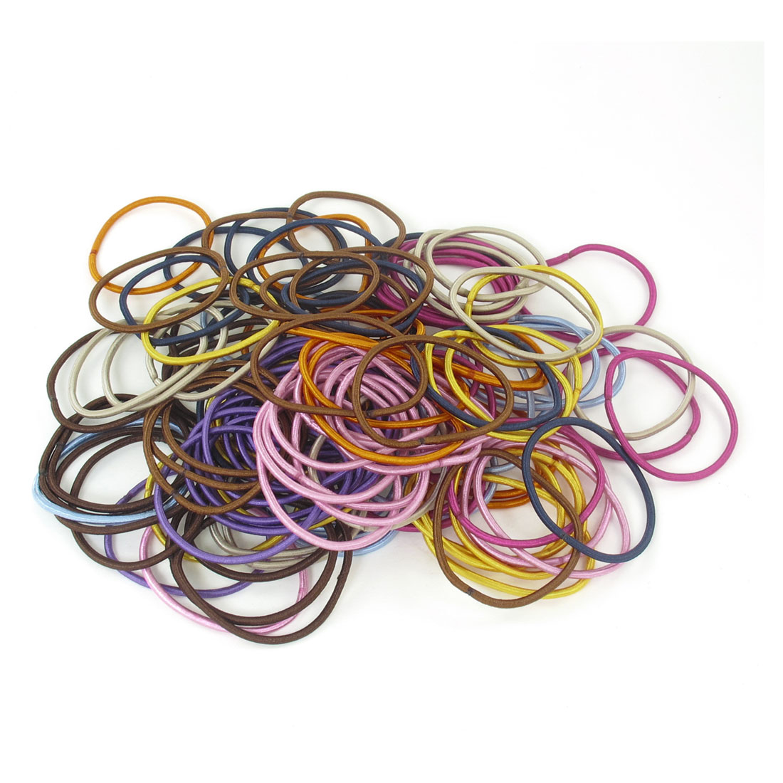 120 Pcs Lady Assorted Color Elastic Slim Hair Band Ponytail Holders Hair Tie