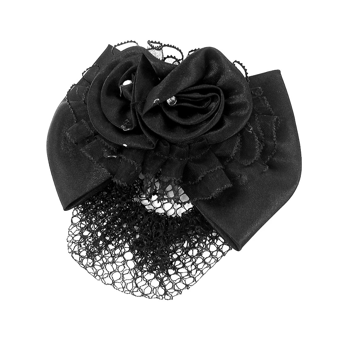 Hairnet Style Rhinstone Inlaid Black Bowknot Hair Clip Snood Net for Women