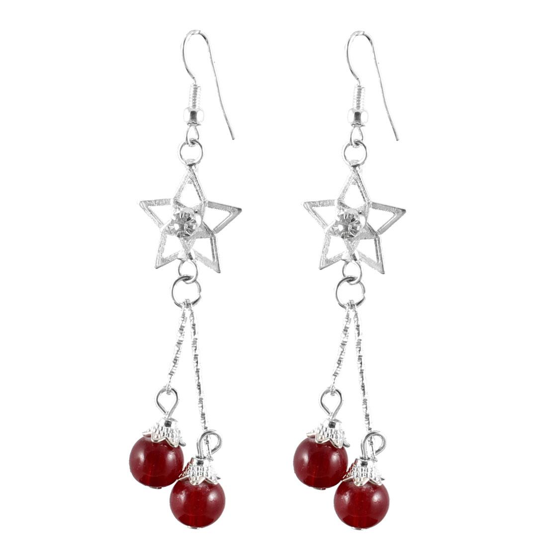 Women Rhinestone Inlaid Star Decor Burgundy Round Beads Dangle Hook Earrings Pair