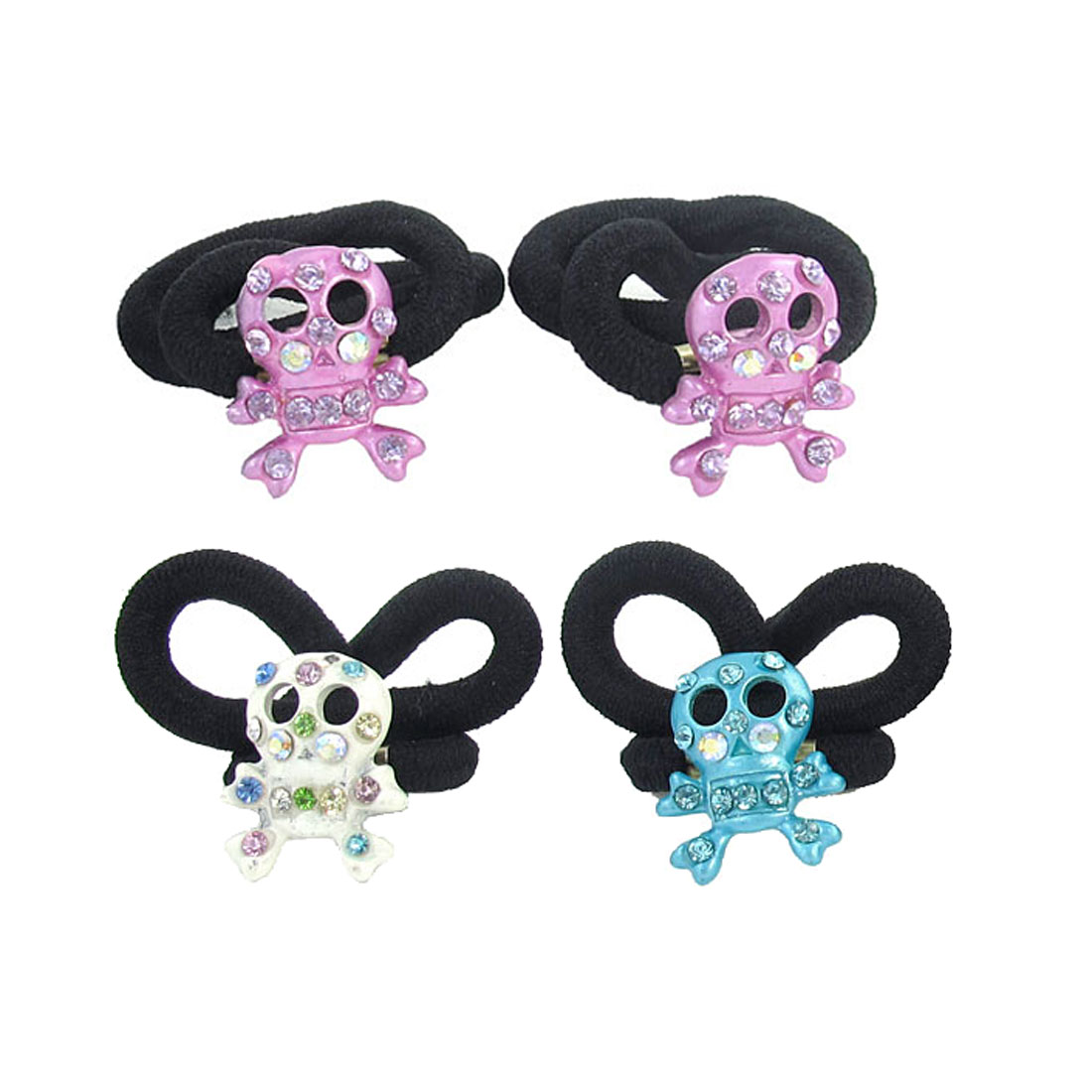 4pcs Kids Glistening Rhinestone Inlaid Skull Head Decor Elastic Rubber Hair Band Tie