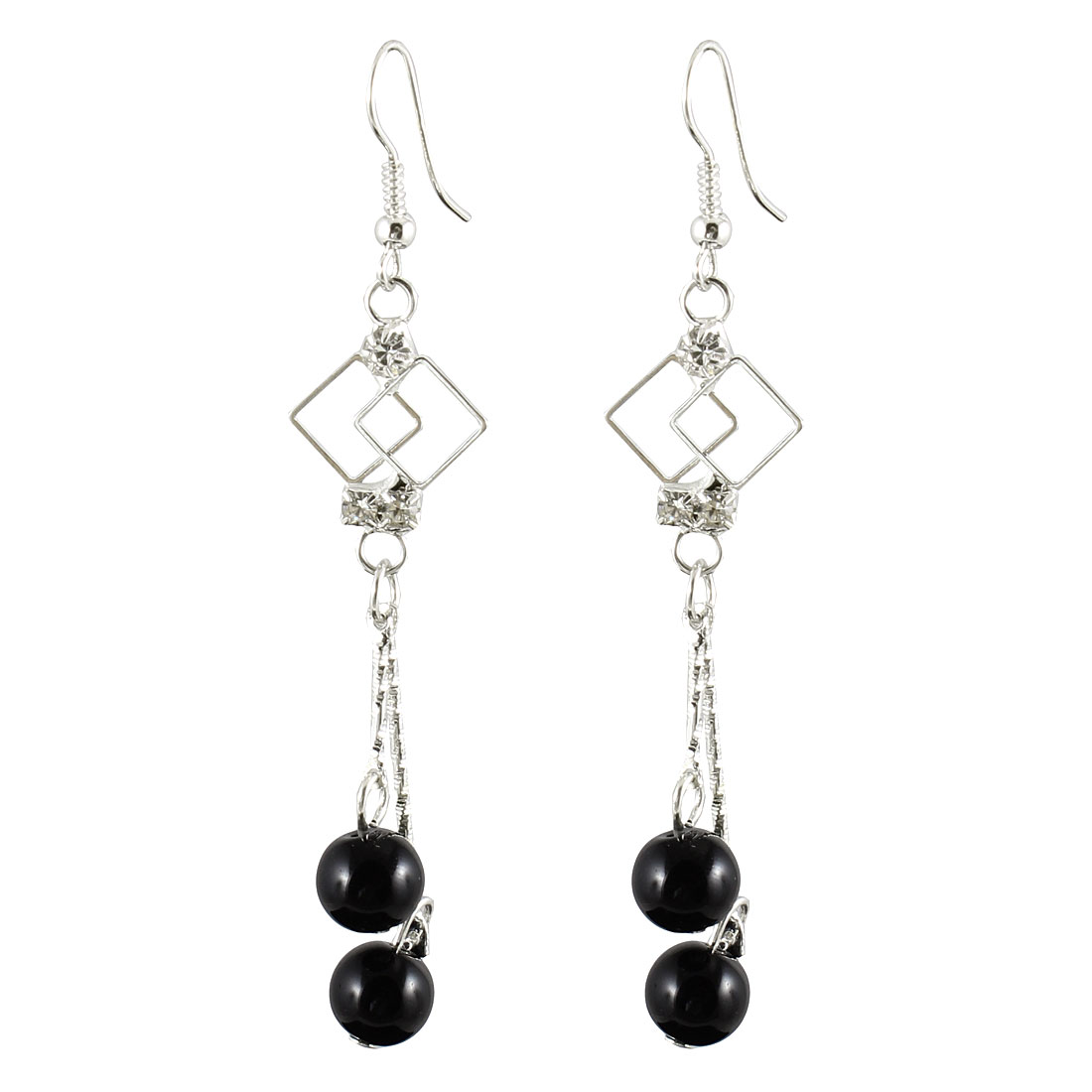 Women Rhinestone Inlaid Black Cherry Shaped Beads Dangle Hook Earrings Pair
