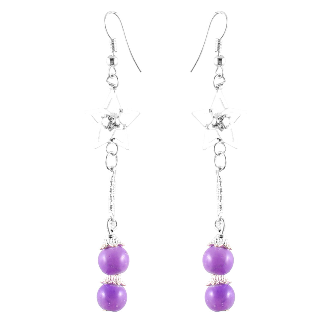 Women Rhinestone Inlaid Star Decor Purple Round Beads Dangle Hook Earrings Pair