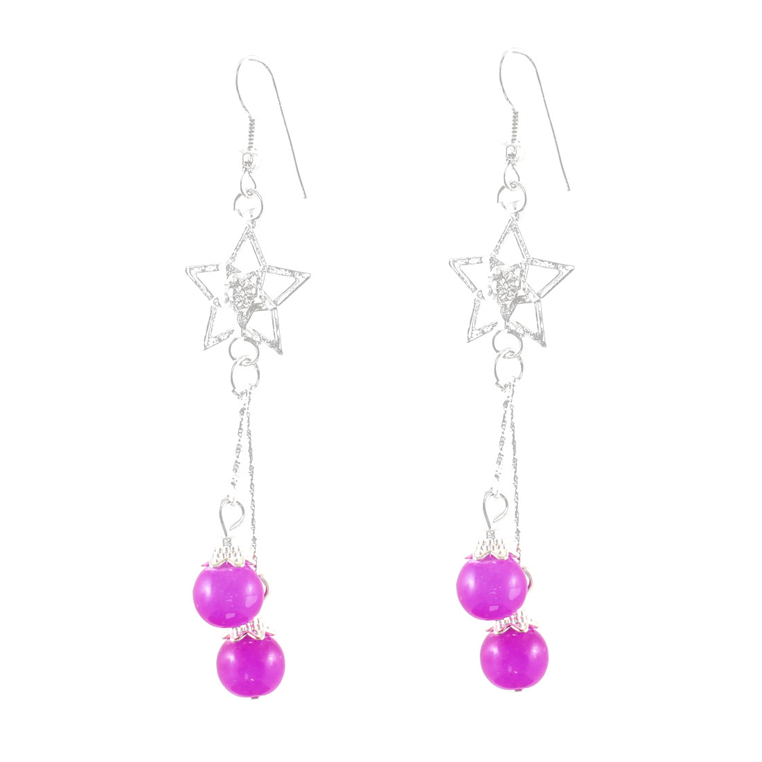Women Rhinestone Inlaid Star Decor Magenta Round Beads Dangle Hook Earrings Pair