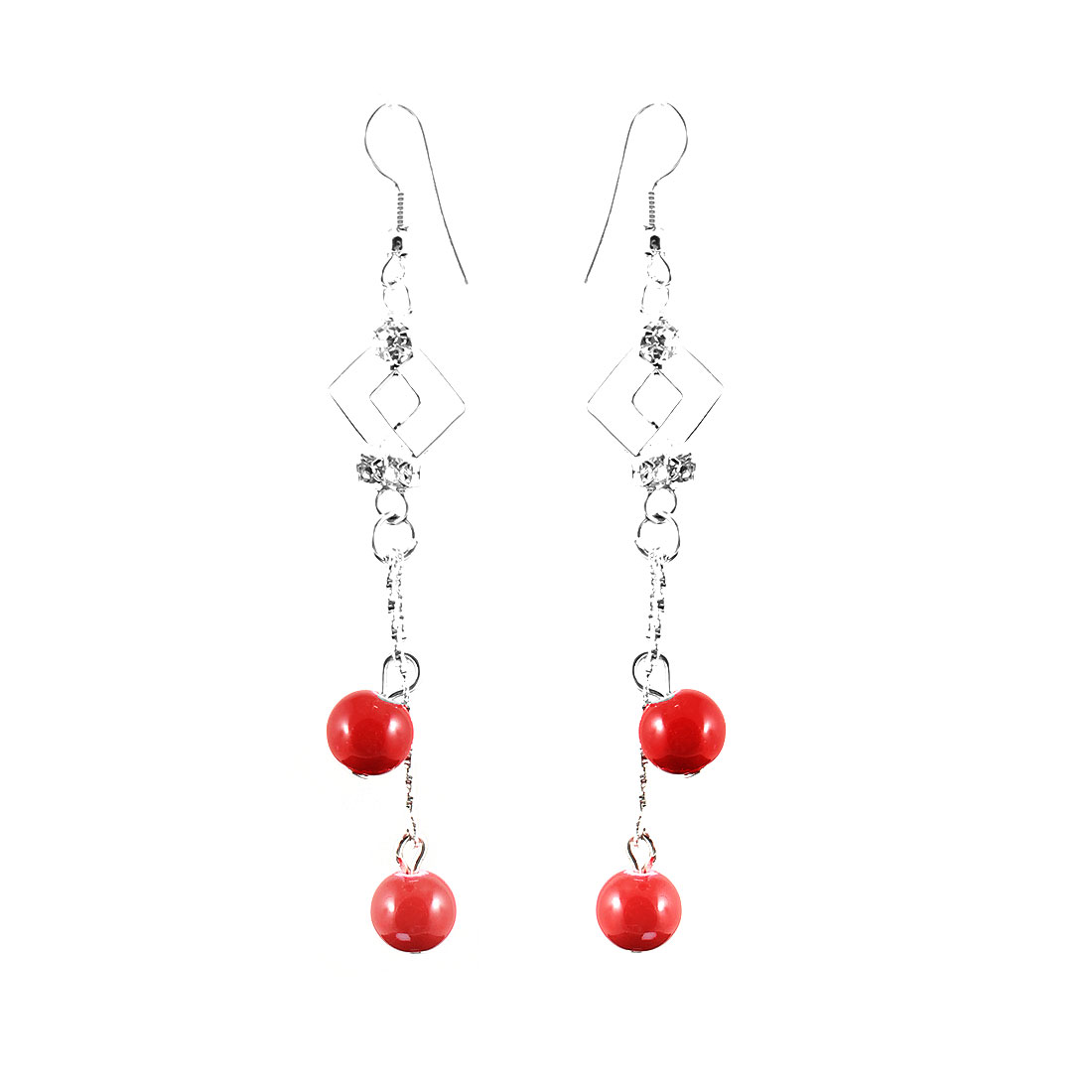 Women Rhinestone Inlaid Red Cherry Shaped Beads Dangle Hook Earrings Pair