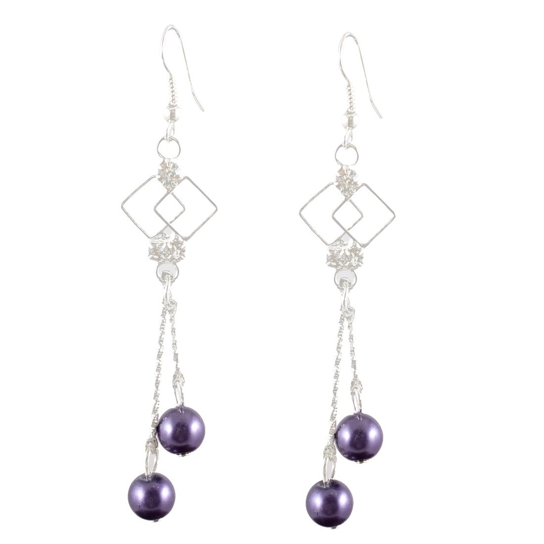 Women Rhinestone Inlaid Dark Purple Cherry Shaped Beads Dangle Hook Earrings Pair