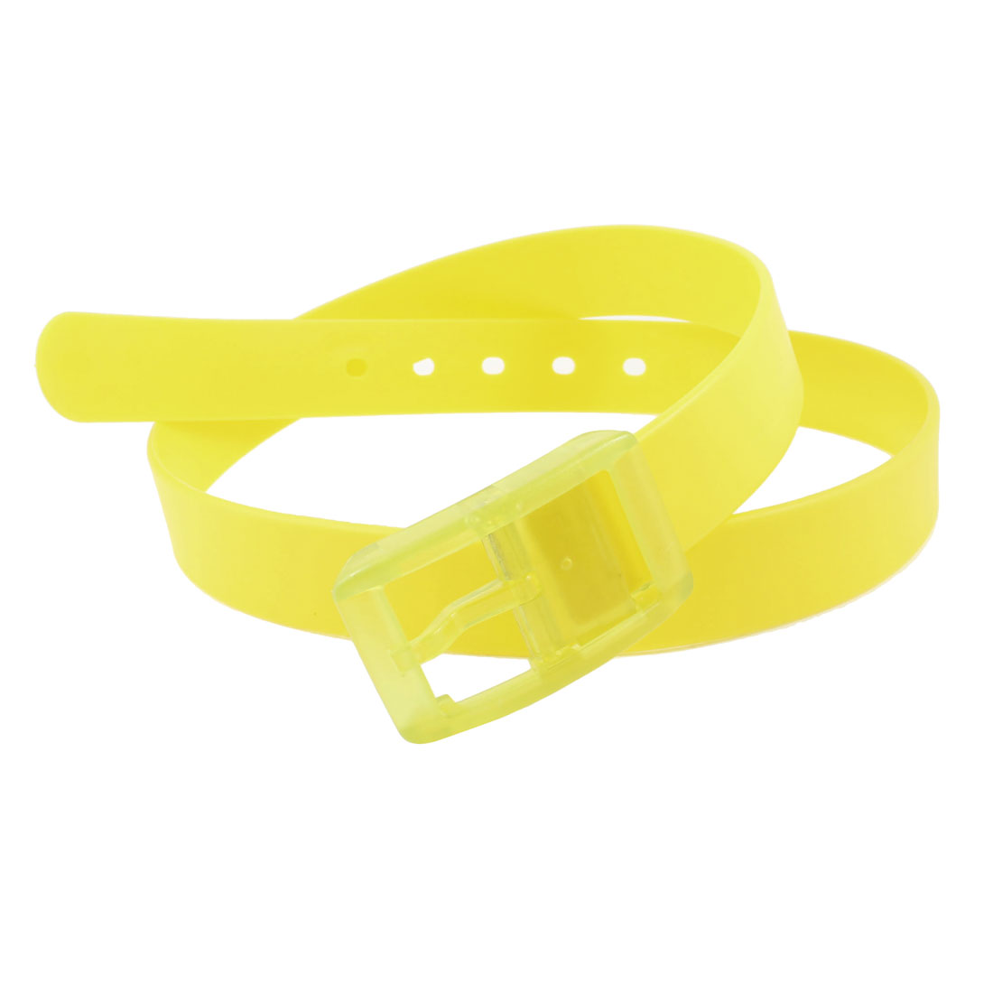 Ladies Men Single Prong Buckle 3cm Width Perforated Jelly Band Waist Belt Yellow