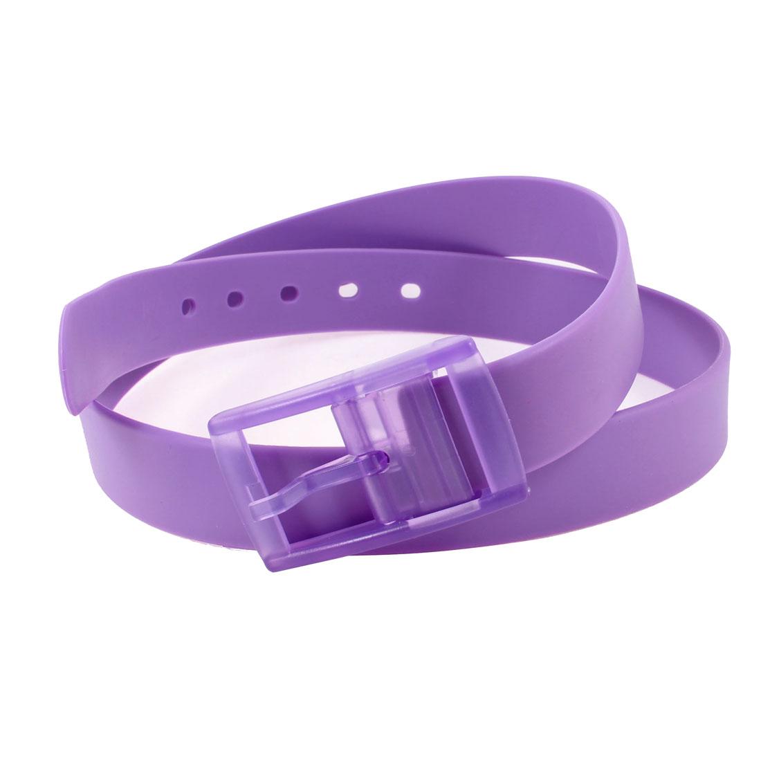 Jelly Purple 5 Hole Adjustable Single Pin Buckle Waist Belt Band for Women Man