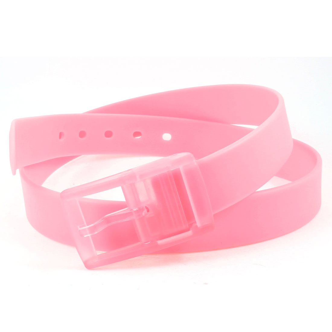 Unisex Plastic Rectangle Buckle 3cm Wide Perforated Fragrant Waist Belt Pink