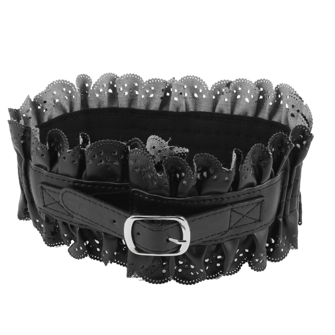 Ruffled Faux Leather 10cm Width Stretchy Cinch Belt Black for Woman