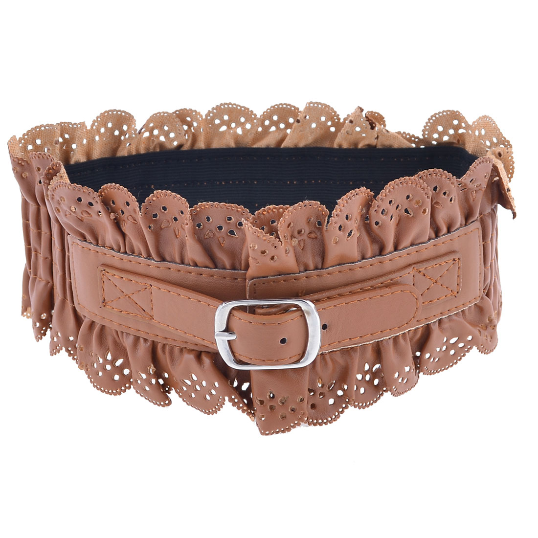 Pleated Faux Leather Single Pin Buckle Elastic Cinch Belt Brown for Women