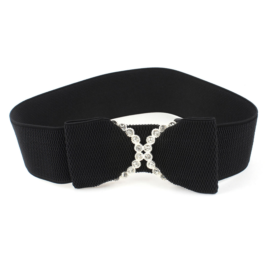 Ladies Rhinestones Detailing Bowknot Press Stud Button Elastic Waist Belt Black