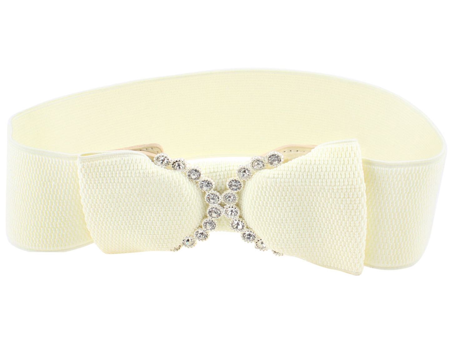Lady Rhinestones Detail Bowknot Press Stud Button Elastic Waist Belt Off White