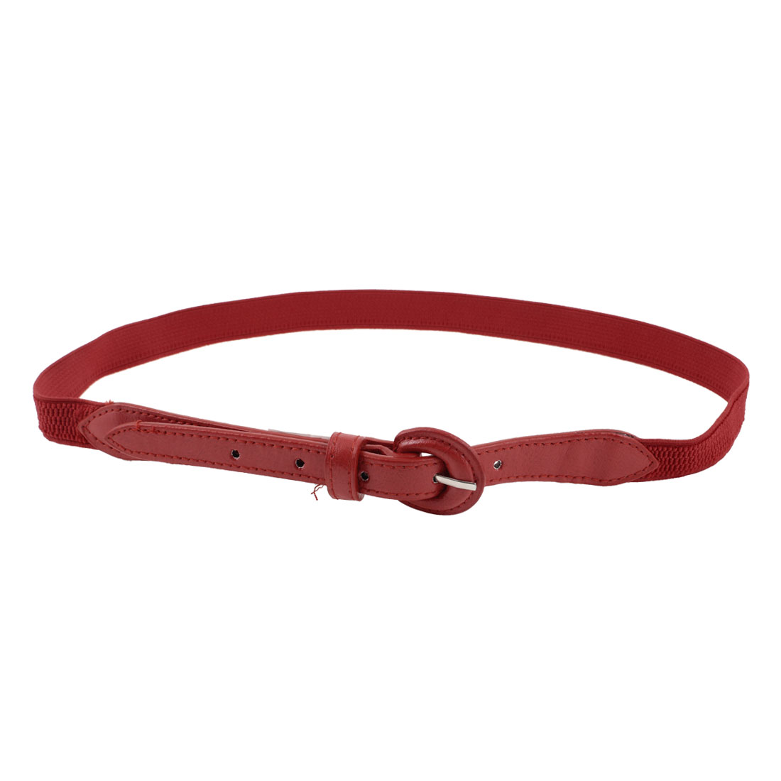 "Ladies Single Prong Buckle 0.8"" Wide Red Faux Leather Cinch Waist Belt"