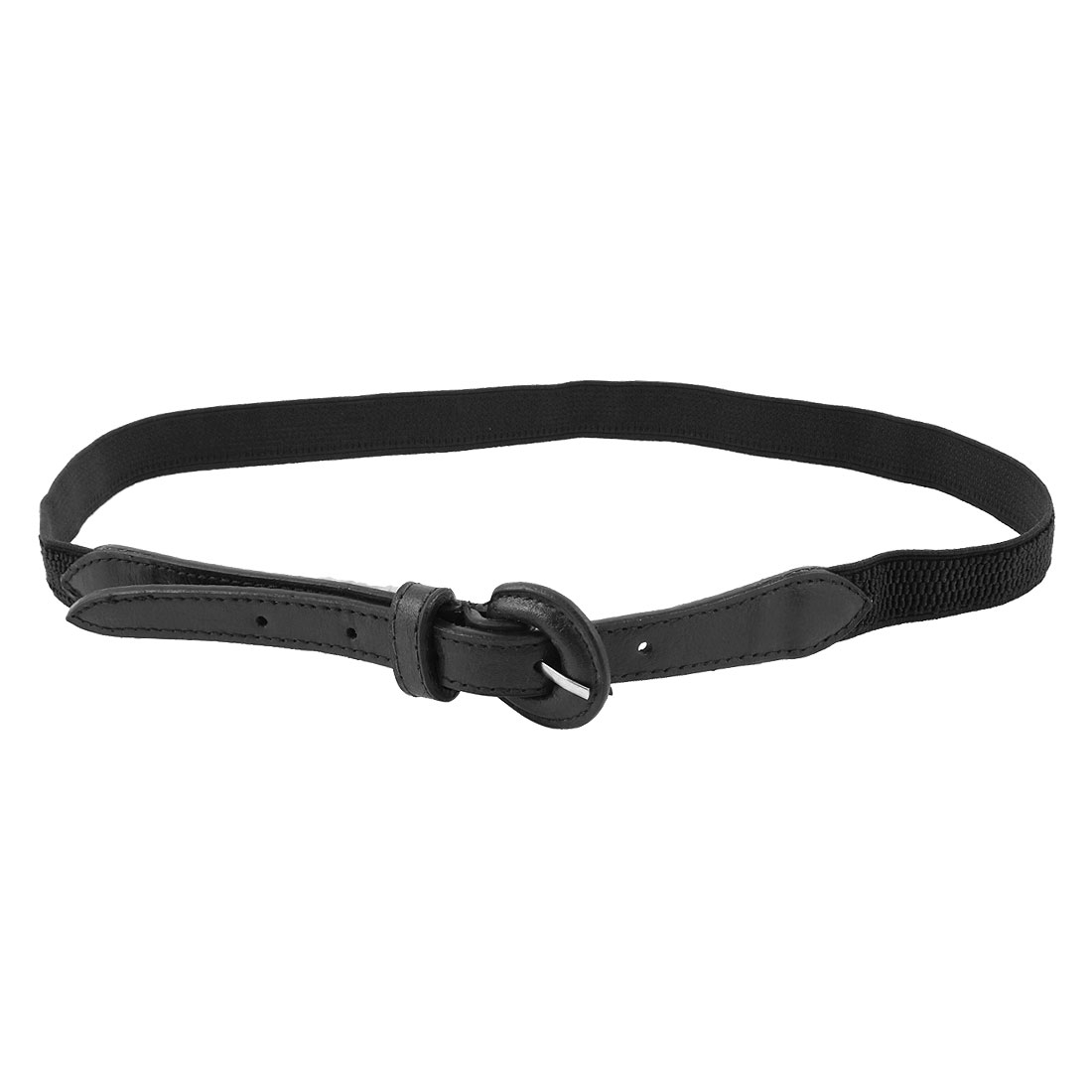 "Women Single Pin Closure 0.8"" Wide Black Adjustable Stretchy Waist Belt"