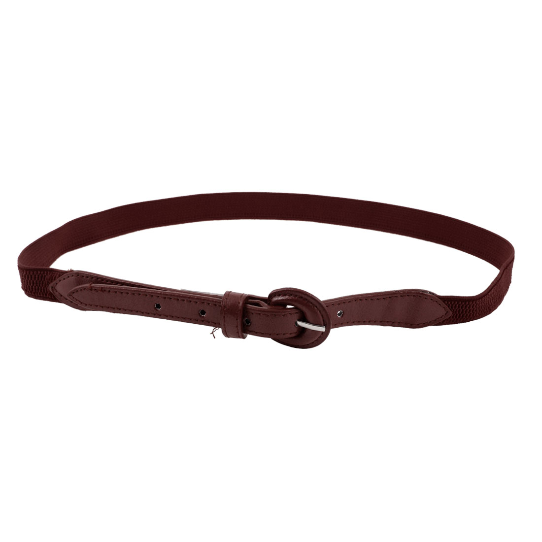 "Ladies Single Prong Buckle 0.8"" Wide Burgundy Faux Leather Cinch Waist Belt"