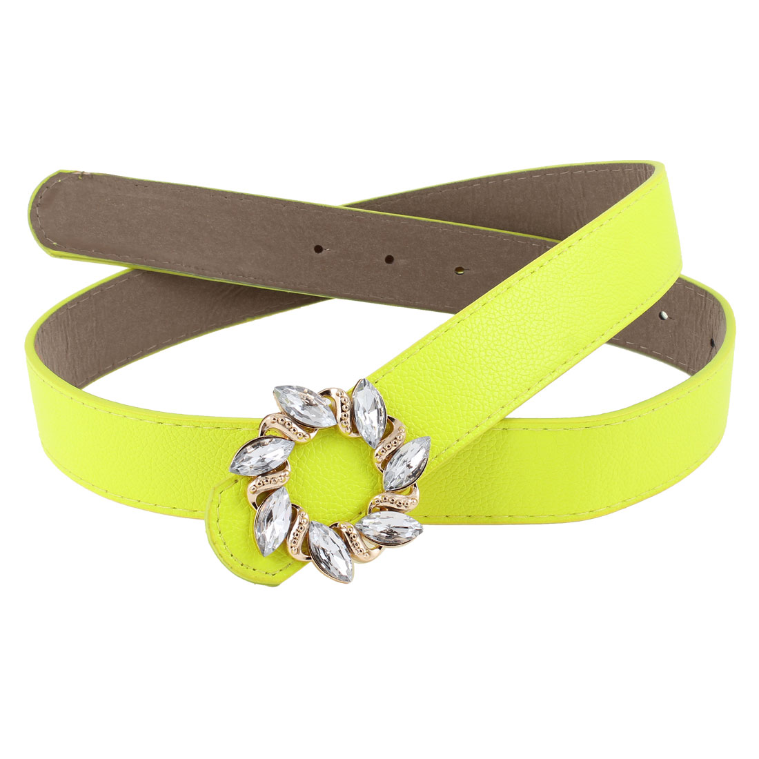 Plastic Bead Accent Floral Press Buckle Yellow Green Adjusting Faux Leather Belt for Lady