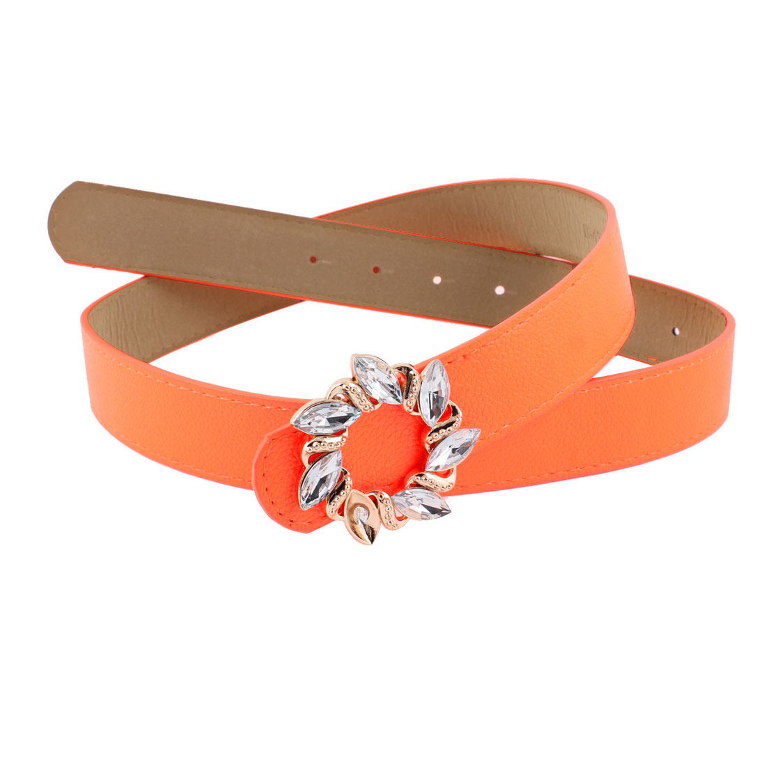 Lady Plastic Faceted Bead Accent Press Buckle Adjusting Faux Leather Belt Orange