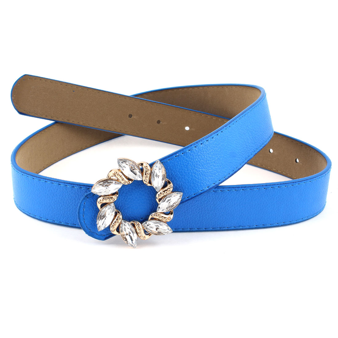 Faux Leather Press Buckle Perforated 3cm Wide Waist Belt Blue for Ladies