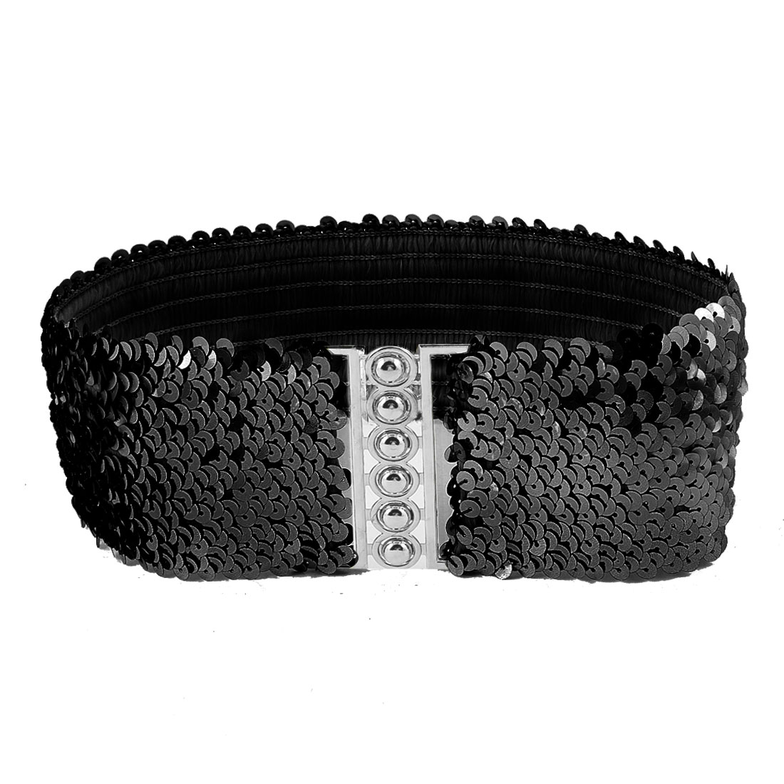 Woman Sequin Detail 6.5cm Wide Textured Black Strentch Waist Belt Waistbelt