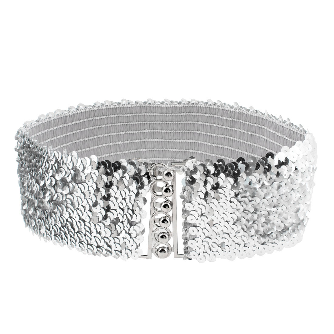 Ladies Sequin Accent Interlock Buckle 6.5cm Wide Elastic Waist Belt Silver Tone