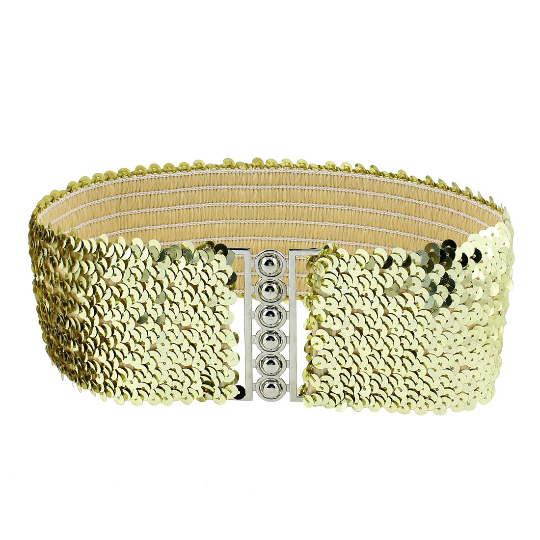 Sequin Decor Strentch 6.5cm Wide Waistbelt Cinch Waist Belt Gold Tone for Lady