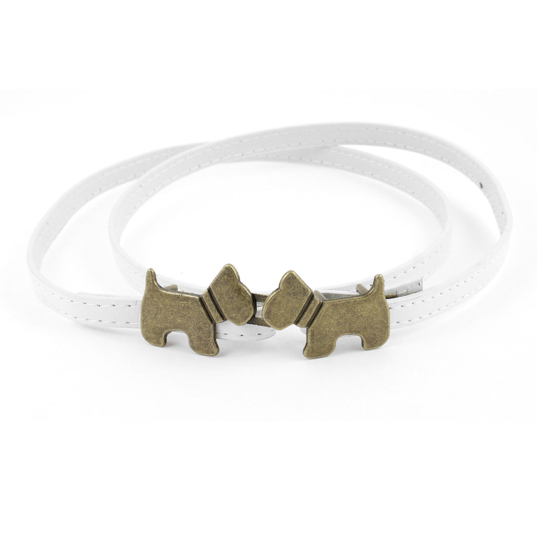 10mm Width Dog Accent Interlock Buckle Adjusting White Faux Leather Waist Belt