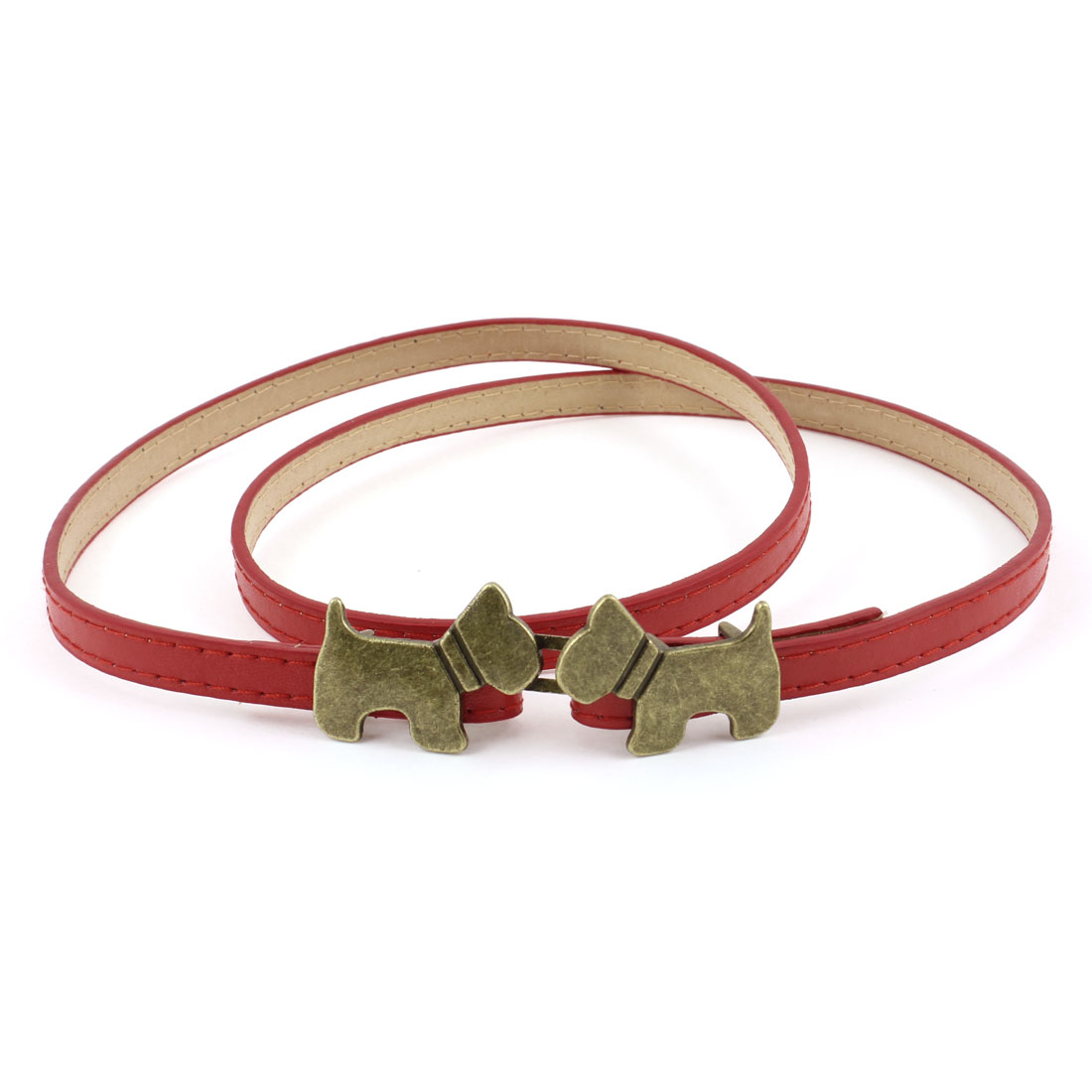 Lady Dog Decor Interlock Buckle 10mm Wide Red Faux Leather Waistband Belt