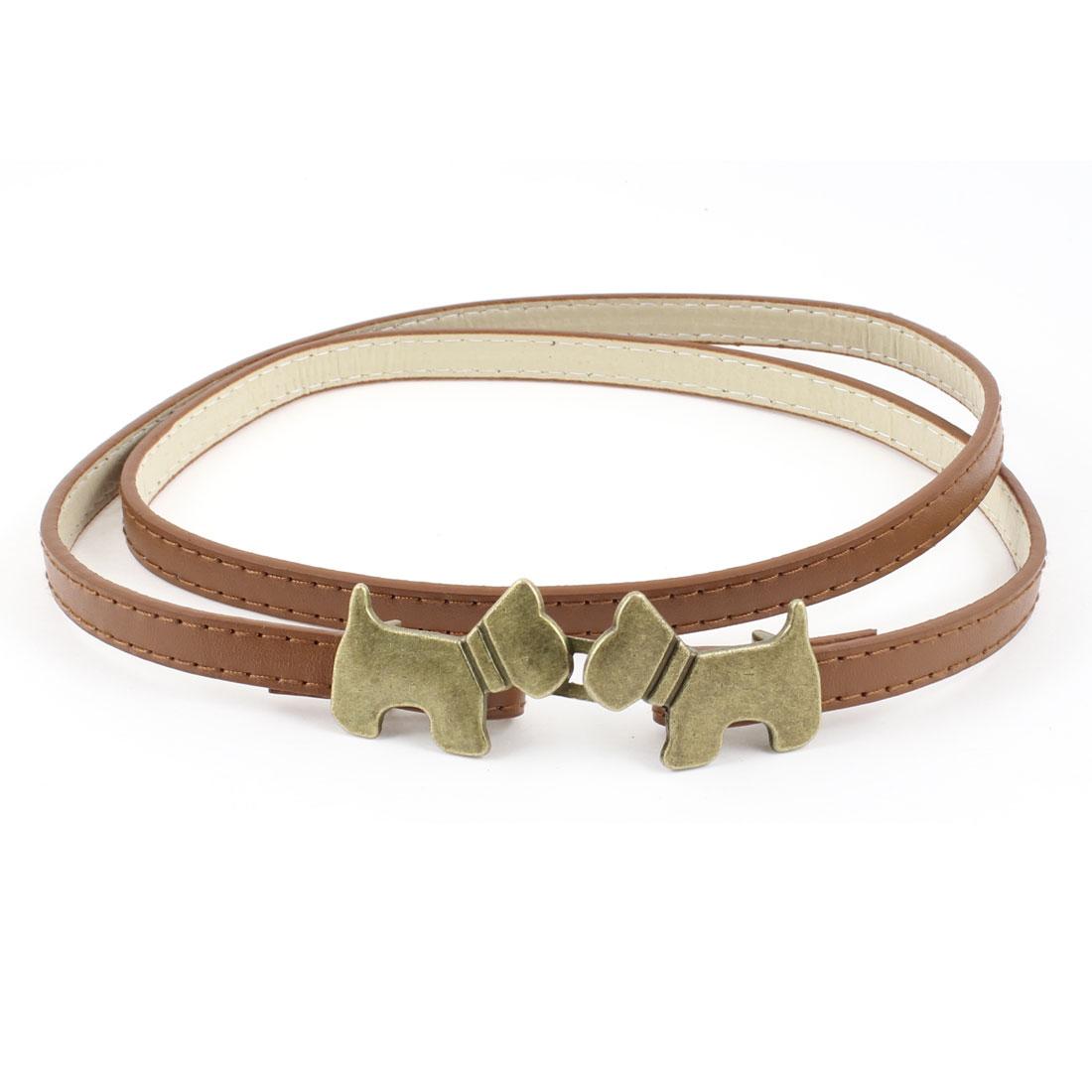 "Ladies Dog Ornament Interlock Buckle 0.39"" Width Faux Leather Belt Brown"