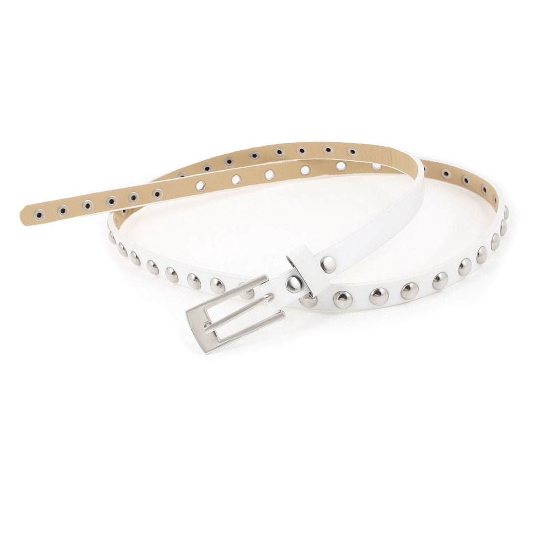 Women White Adjustable Single Prong Buckle Faux Leather Thin Waist Belt 2cm Wide
