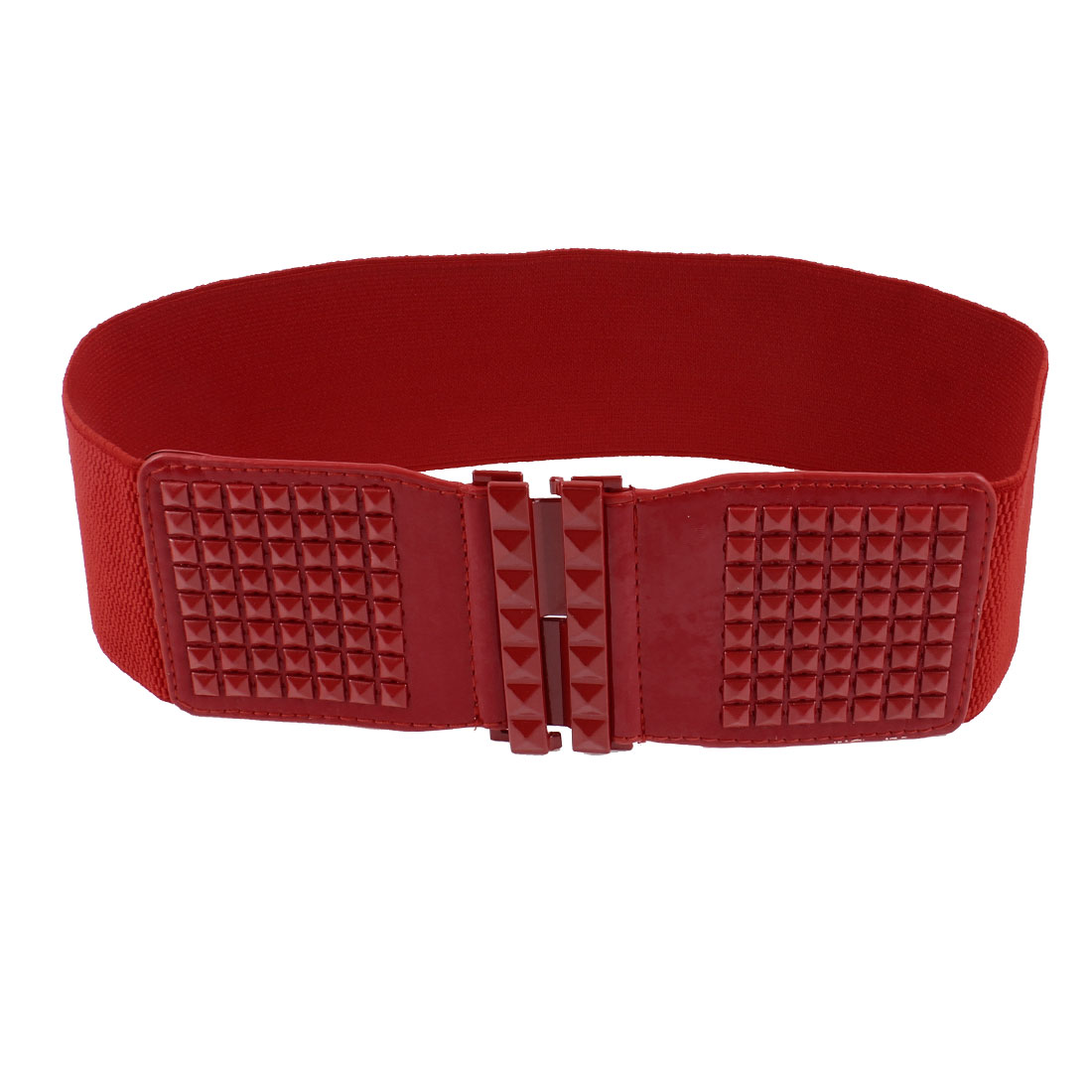 Ladies Square Faceted Bead Interlocking Buckle 7cm Wide Red Stretchy Waist Belt