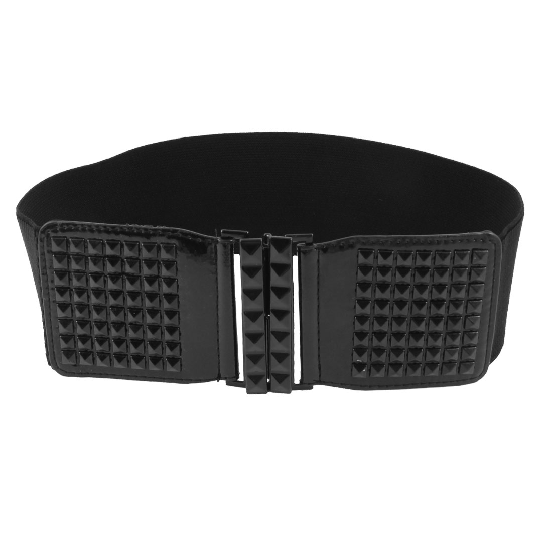 Square Faceted Bead Interlock Buckle 7cm Wide Elastic Black Waist Belt for Women